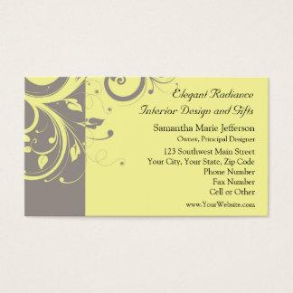Modern Yellow and Gray Swirl Wedding Business Card
