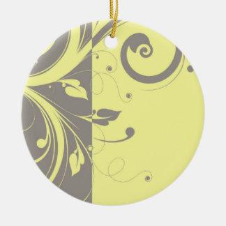 Modern Yellow and Gray Swirl Wedding Ornament
