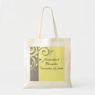 Modern Yellow and Gray Swirl Wedding Tote Bag