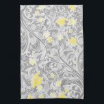 """Modern Yellow and Gray Swirly Floral Hand Towel<br><div class=""""desc"""">Pretty modern girly floral pattern featuring elegant pastel gray swirls and yellow and gold flowers intertwined on a darker gray background.</div>"""