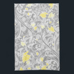 "Modern Yellow and Gray Swirly Floral Hand Towel<br><div class=""desc"">Pretty modern girly floral pattern featuring elegant pastel gray swirls and yellow and gold flowers intertwined on a darker gray background.</div>"