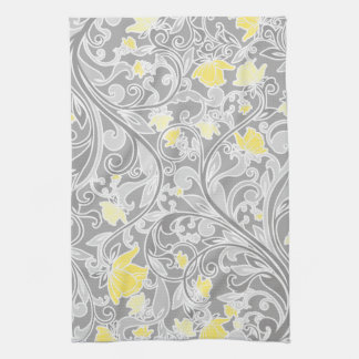 Modern Yellow and Gray Swirly Floral Hand Towel