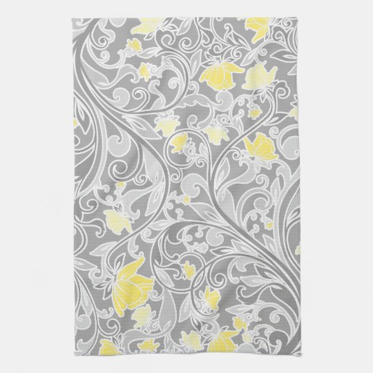 modern yellow and gray swirly floral hand towel. Black Bedroom Furniture Sets. Home Design Ideas