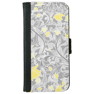 Modern Yellow and Gray Swirly Floral iPhone 6/6s Wallet Case