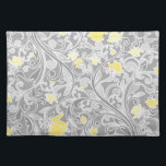 """Modern Yellow and Gray Swirly Floral Placemat<br><div class=""""desc"""">Pretty modern girly floral pattern featuring elegant pastel gray swirls and yellow and gold flowers intertwined on a darker gray background.</div>"""