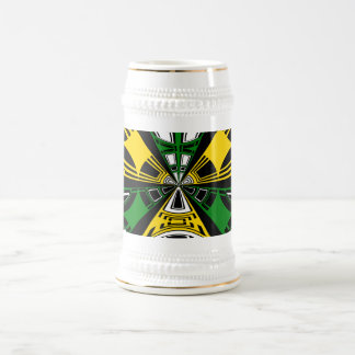 Modern yellow and green circle pattern 18 oz beer stein