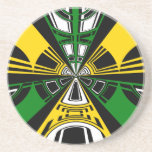 Modern yellow and green circle pattern beverage coasters