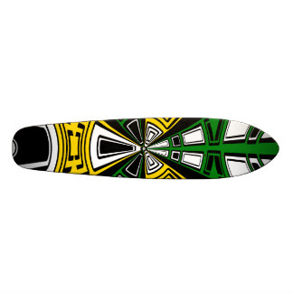 Modern yellow and green circle pattern skate decks