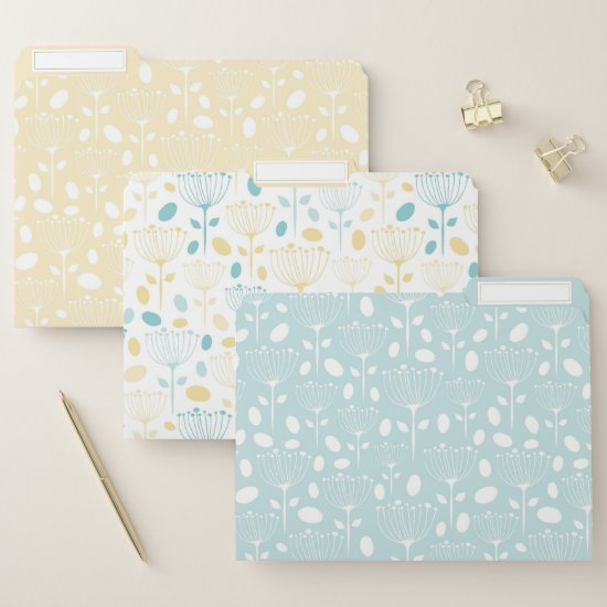 Modern Yellow and Mint Green Floral File Folder