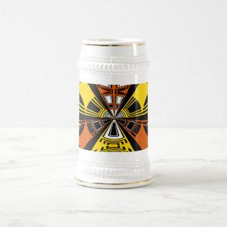 Modern yellow and orange circle pattern 18 oz beer stein