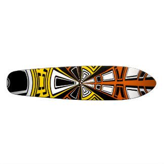 Modern yellow and orange circle pattern skateboard