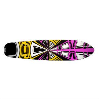 Modern yellow and pink circle pattern skate board