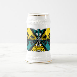 Modern yellow and teal circle design 18 oz beer stein