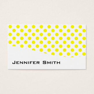 Modern Yellow and White Polka Dot Business Cards