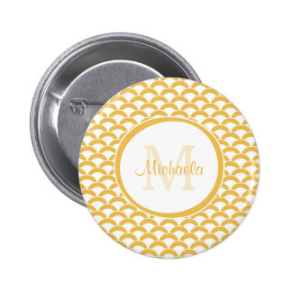 Modern Yellow and White Scallops Monogram and Name Button