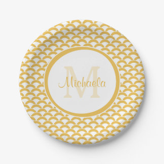 Modern Yellow and White Scallops Monogram and Name Paper Plate
