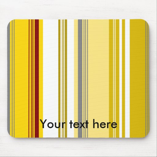 Modern yellow and white stripes mouse pad