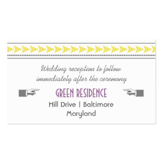 Modern Yellow Arrows Wedding Insert Double-Sided Standard Business Cards (Pack Of 100)