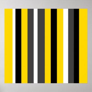 Modern yellow black gray and white stripes poster