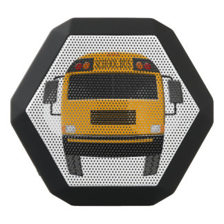 Modern Yellow Bus Illustration Black Bluetooth Speaker