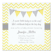 Modern Yellow Chevron Baby Shower Invitations