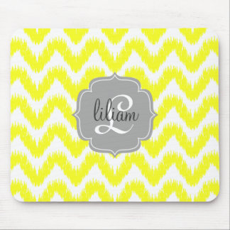Modern Yellow Chevron Ikat Personalized Mouse Pad