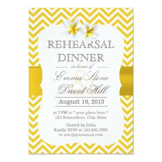 Modern Yellow Chevron Plumeria Rehearsal Dinner 5x7 Paper Invitation Card