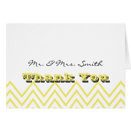Modern Yellow Chevron Wedding Thank You Card