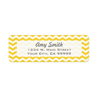 Modern Yellow Chevron Zigzag Pattern Label