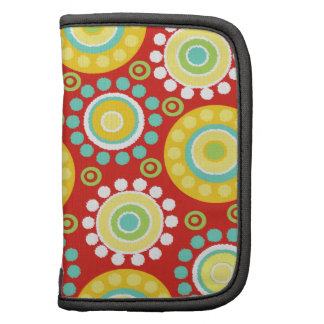 Modern Yellow Circle Flowers Teal Accents on Red Planners