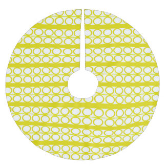 Modern Yellow Circles Lines Pattern Brushed Polyester Tree Skirt