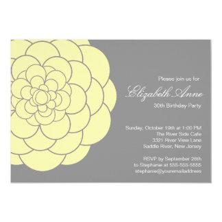 "Modern Yellow Dahlia Bloom Birthday Party 5"" X 7"" Invitation Card"