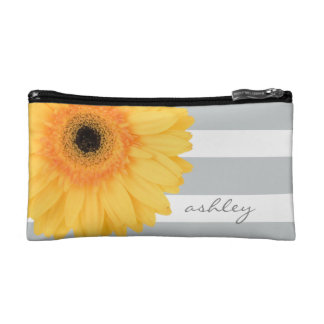 Modern yellow daisy on gray/white stripes, w name makeup bag