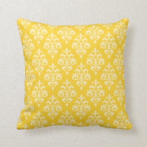 Modern Yellow Pillow : Modern Yellow Damask Throw Pillow Zazzle