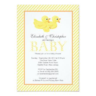Modern Yellow Ducks Couple Baby Shower Custom Announcement
