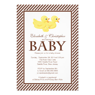 Modern Yellow Ducks Couple Baby Shower Personalized Invite