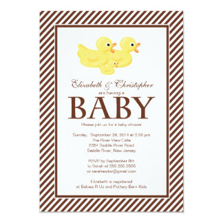 Modern Yellow Ducks Couple Baby Shower Personalized Invite