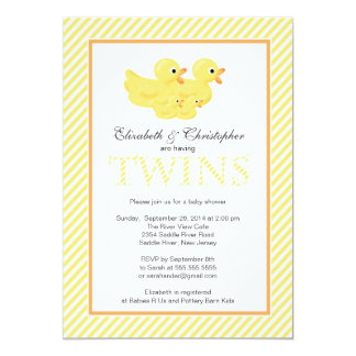 Modern Yellow Ducks Couple Twins Baby Shower Invitations