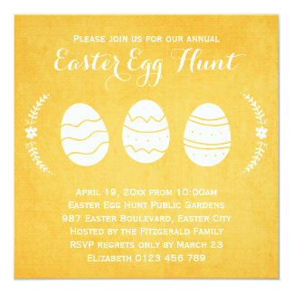Modern Yellow Easter Egg Hunt Party Card