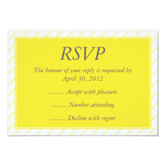 """Modern Yellow Event Reply, RSVP or Response Cards 3.5"""" X 5"""" Invitation Card"""