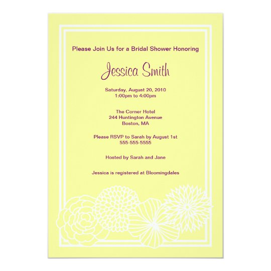 Modern Yellow Floral Bridal Shower Invite