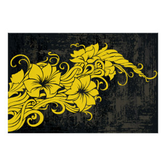Modern yellow floral decor panno poster