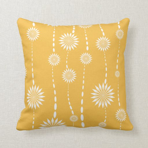 Yellow Decorative Throw Pillows : Modern Yellow Floral Decorative Throw Pillow Zazzle