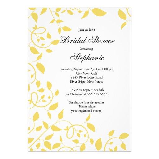 Modern yellow flower bridal shower invitation 5 x 7 for Yellow bridal shower invitations
