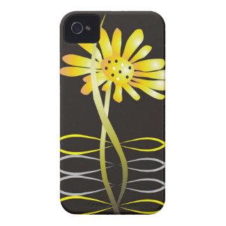 Modern Yellow Flower On Black iPhone 4 Case