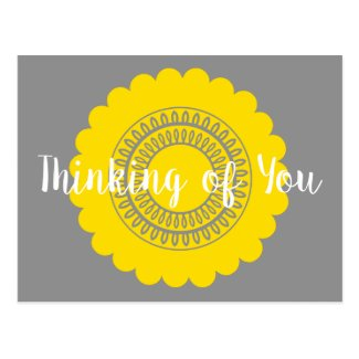 Modern Yellow Flower on Grey Thinking of You Postcard
