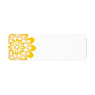 Modern Yellow Flower Pattern Return Address Label