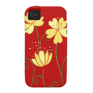 Modern  Yellow Flowers On Red iPhone 4 Case