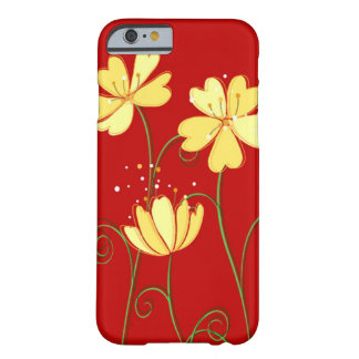 Modern Yellow Flowers On Red Barely There iPhone 6 Case