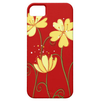 Modern  Yellow Flowers On Red iPhone 5 Cases